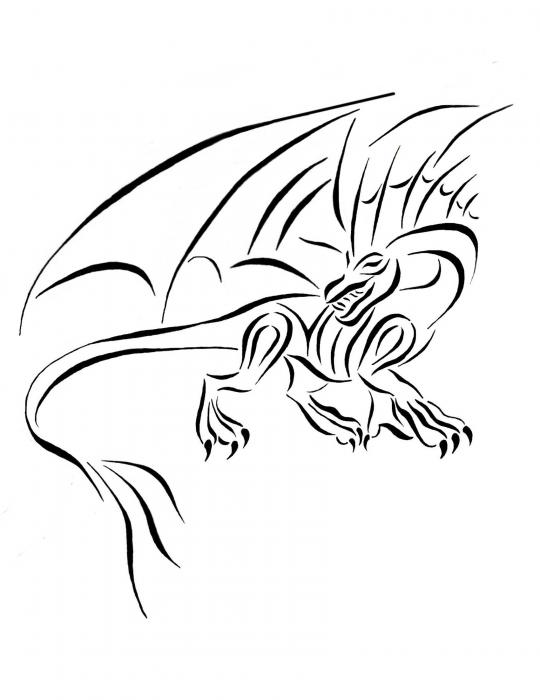 540x700 Medievil Dragon Tribal Line Drawing By Tina Barnash Dragons