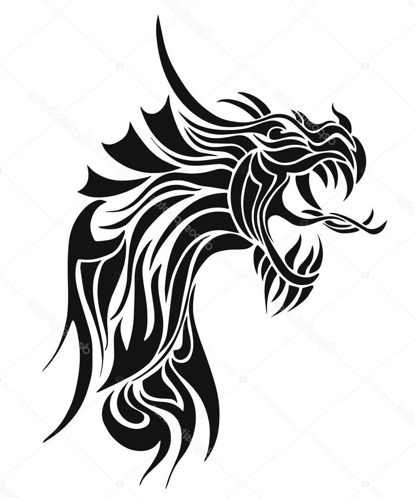 853x1024 Best Hd Stock Illustration Black Tattoo Dragon Vector Photos