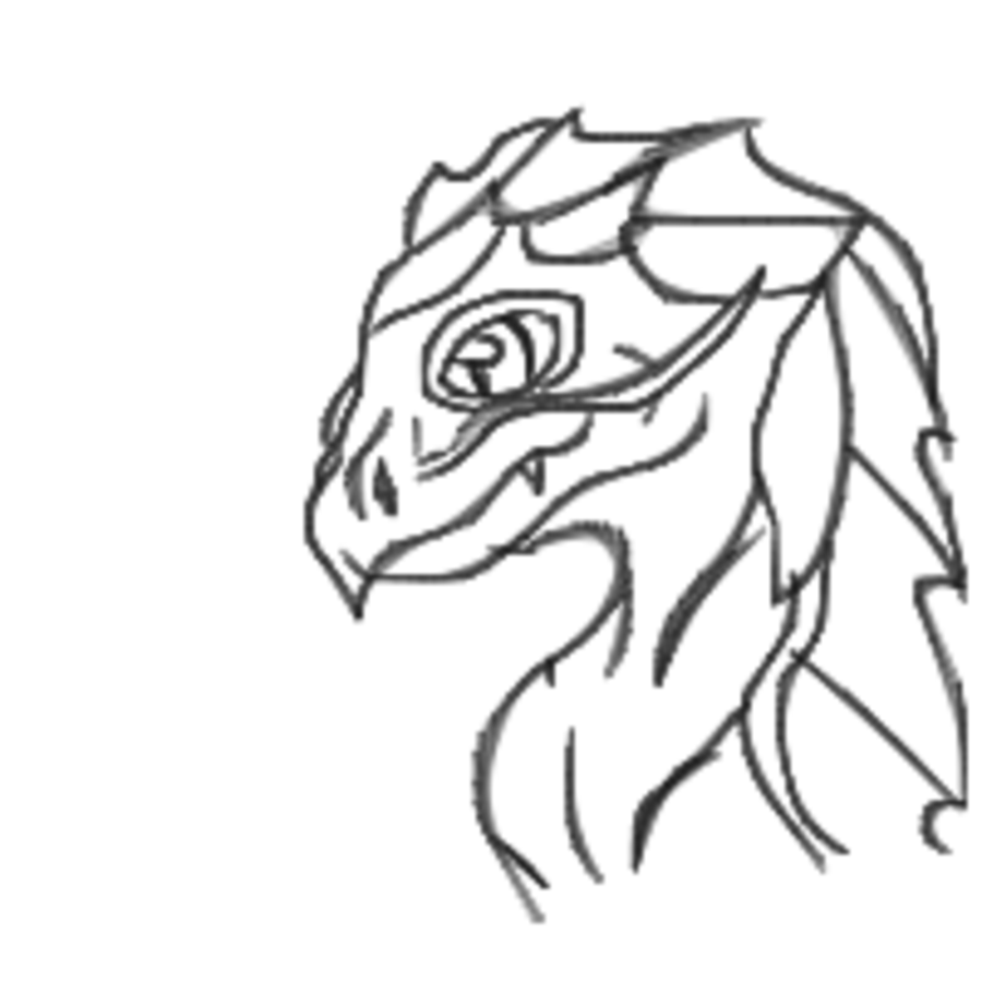 900x900 Black And White Dragon Head By Dragonfang01