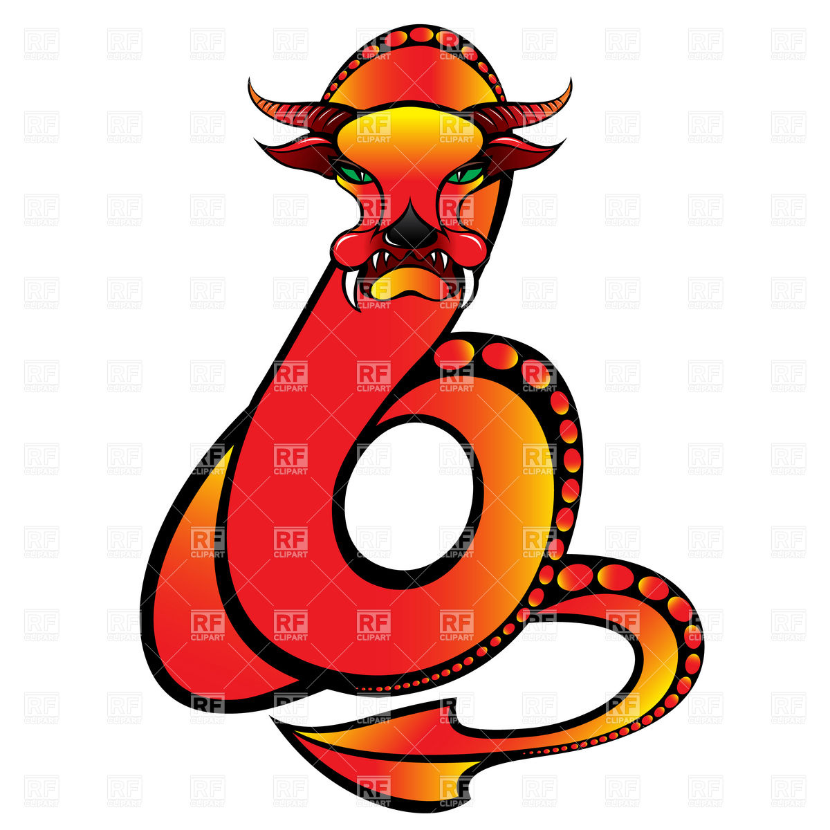 1200x1200 Mythological Snake Dragon Royalty Free Vector Clip Art Image
