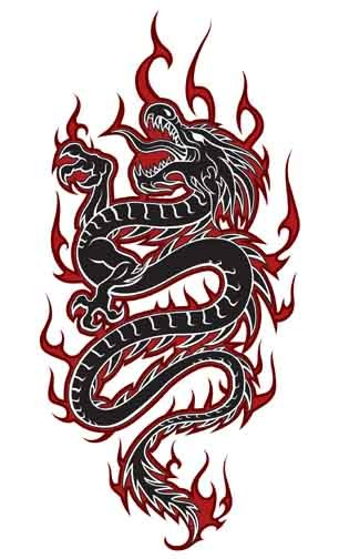 306x504 Black tribal dragon tattoo vector illustration Tattoo design