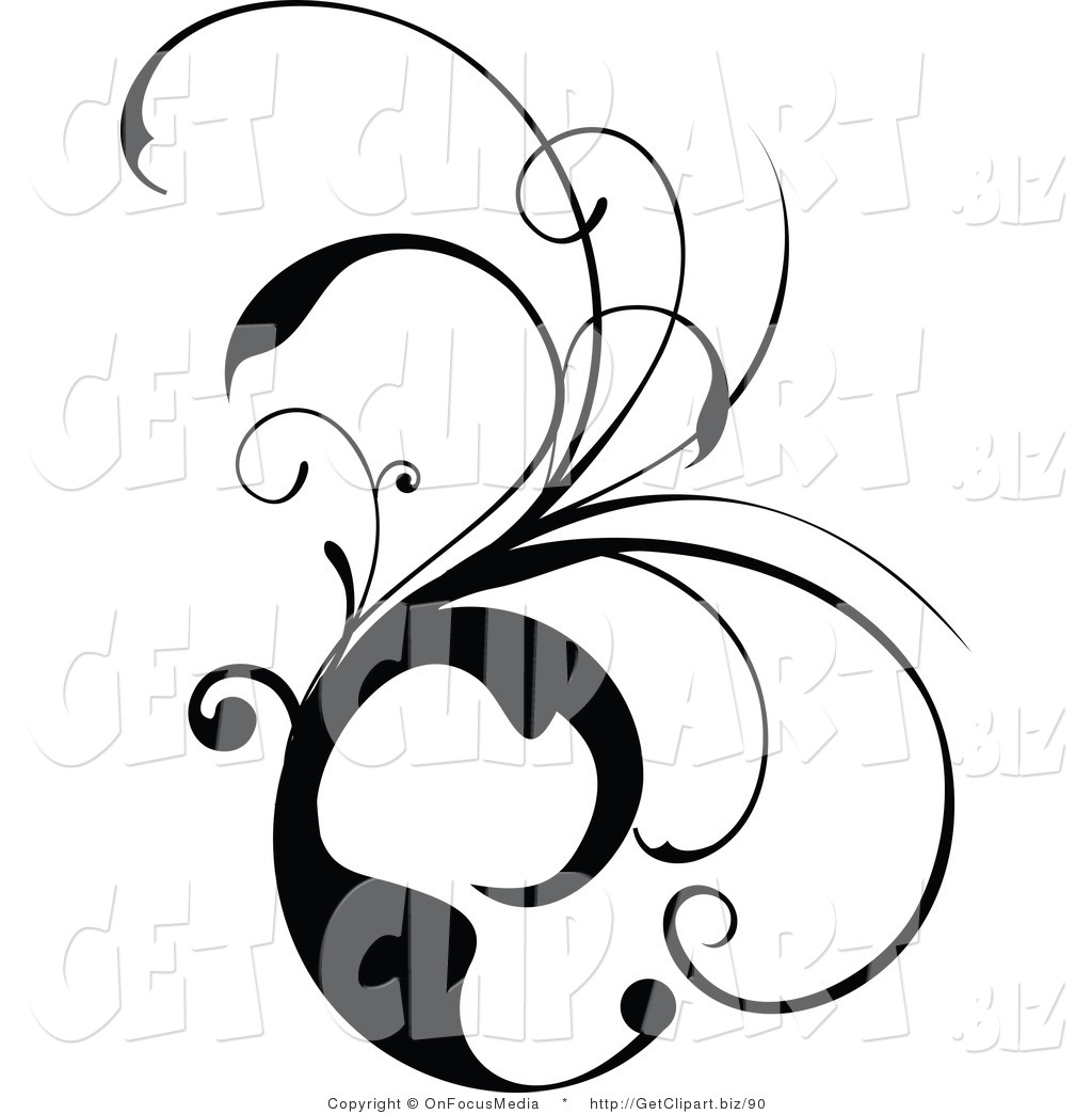 1024x1044 Clip Art Of A Black And White Scrolling Design Vine By