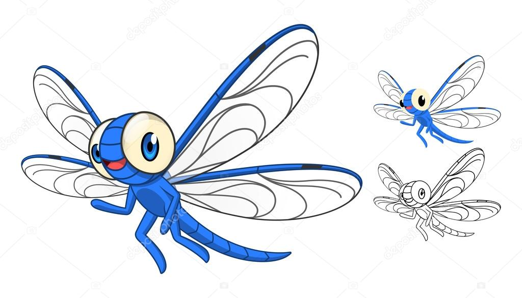 1024x585 Detailed Dragonfly Cartoon Character With Flat Design And Line Art