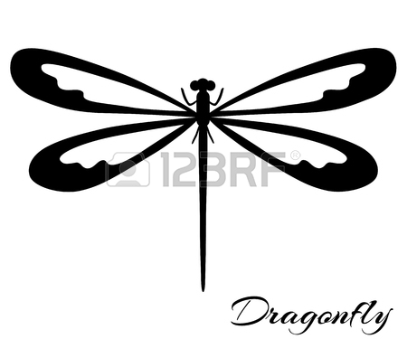 450x375 Black And White Dragonfly Silhouette. Vector Backgrounds, Prints