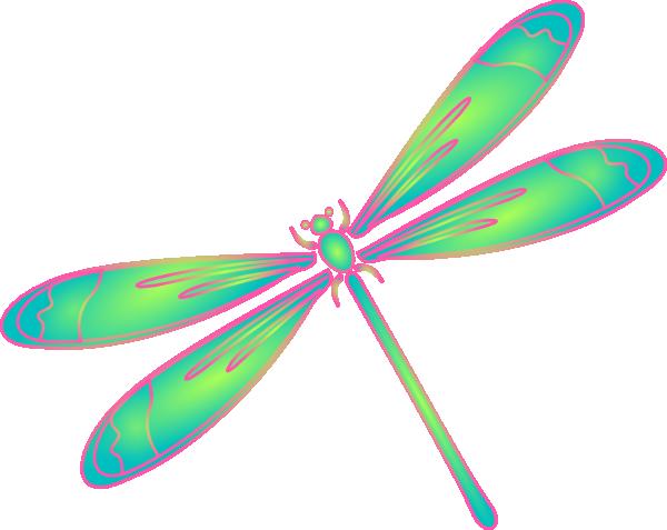 600x477 Dragonfly In Flight Blue Green Pink Clip Art