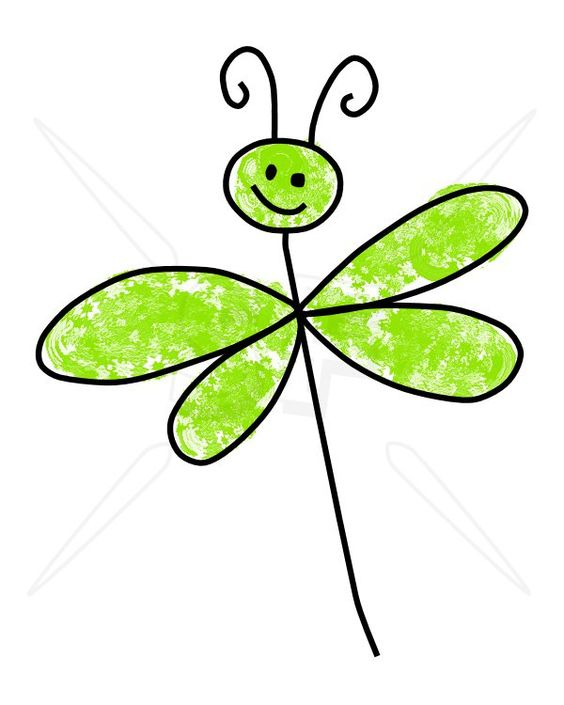 564x705 Dragonfly Clipart Doodle