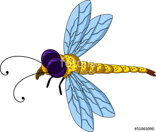 500x424 Yellow Dragonfly Cartoon Stock Image And Royalty Free Vector