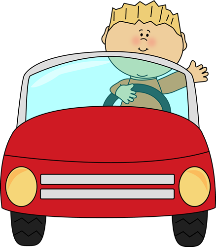 438x500 Boy Driving A Car And Waving. Transportation Clip Art