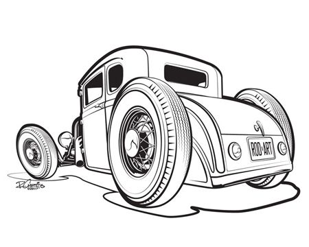 450x360 Drawn Car Hot Rod