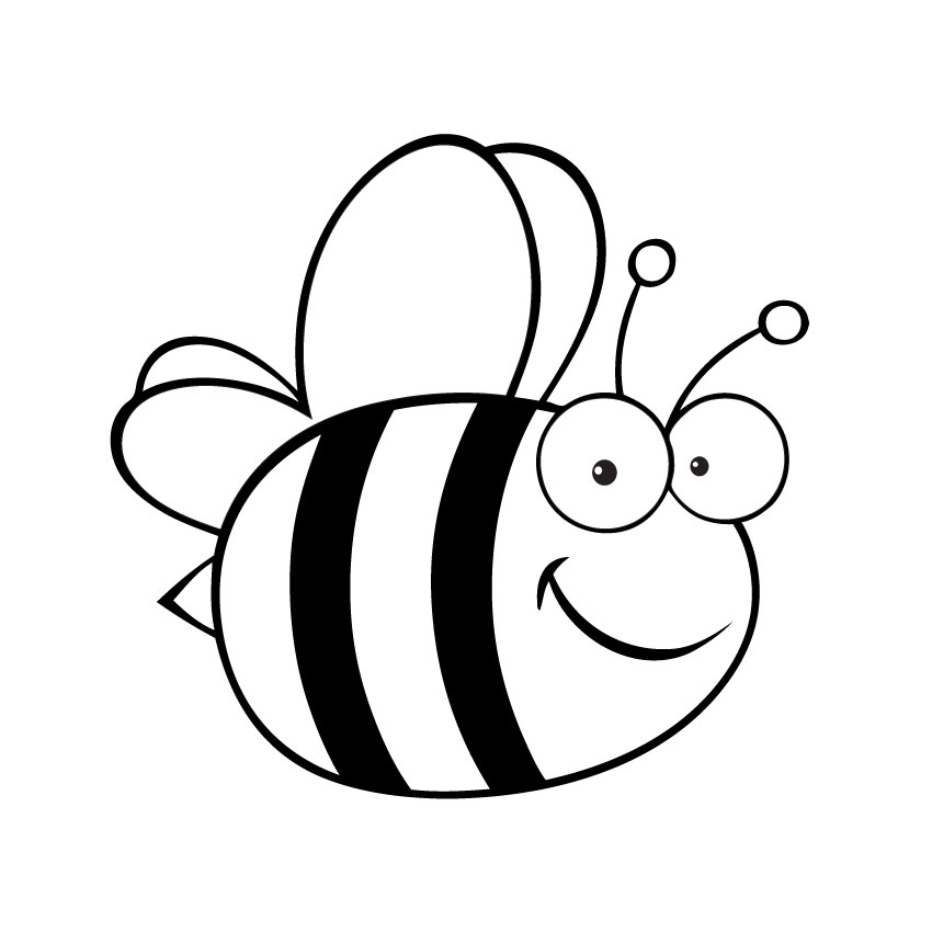 850x850 Bees Clipart Line Drawing