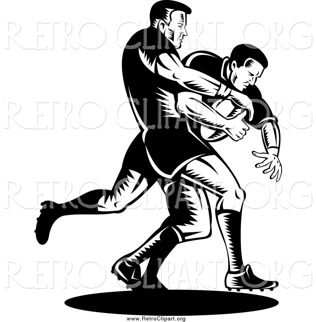 1024x1044 Clipart Of Retro Black And White Rugby Football Players In Action