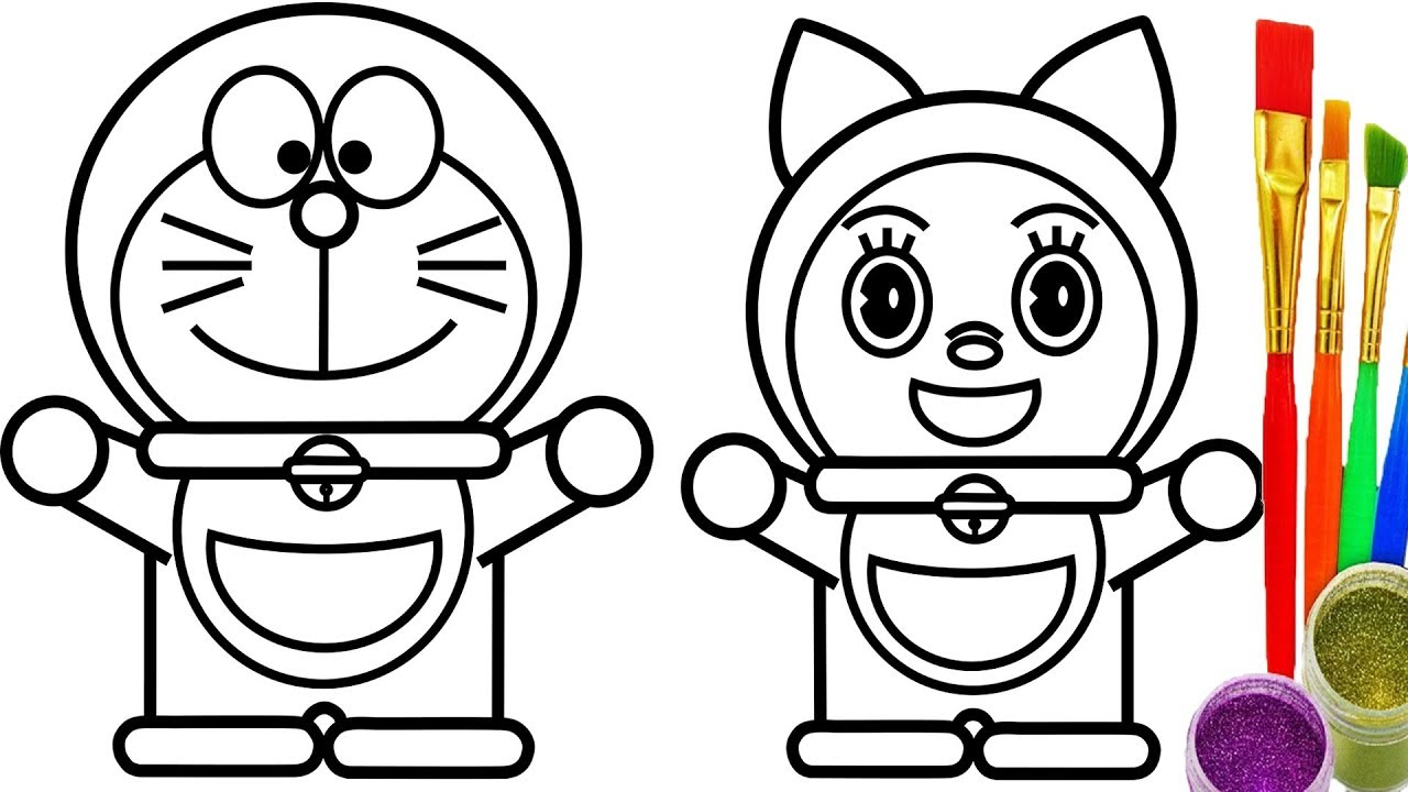 1280x720 Doraemon And Dorami Coloring Pages Kids Learn Drawing