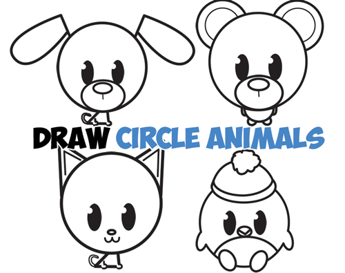 500x395 Big Guide To Drawing Cute Circle Animals Easy Step By Step Drawing