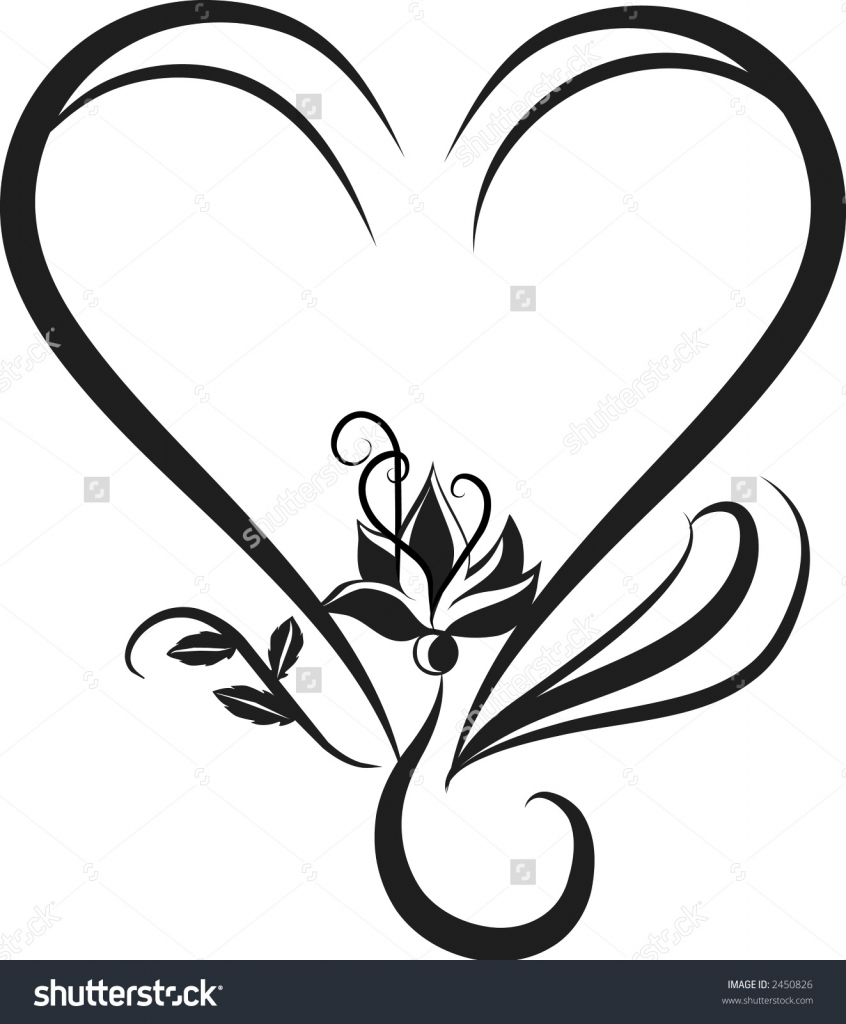 846x1024 Flower Heart Drawing Drawings Of Hearts And Flowers