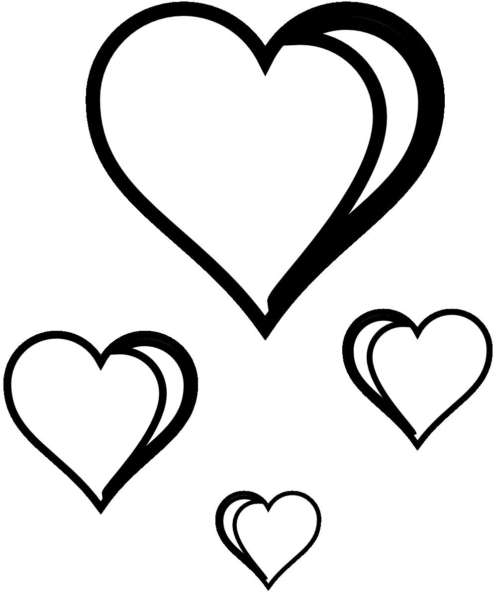 999x1198 Hearts Clipart Line Art