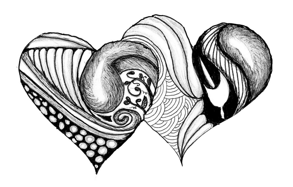 1024x656 Black And White Drawings Black And White Drawings Of Hearts