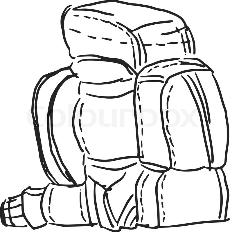 792x800 Hand Drawn, Sketch, Cartoon Illustration Of Backpack Stock