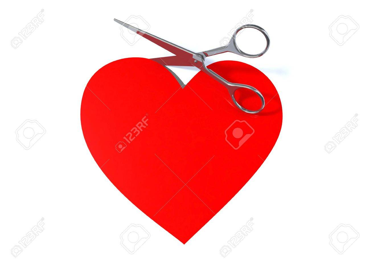1300x975 Drawing Of A Heart Cut Out With Scissors, 3d Illustration Stock