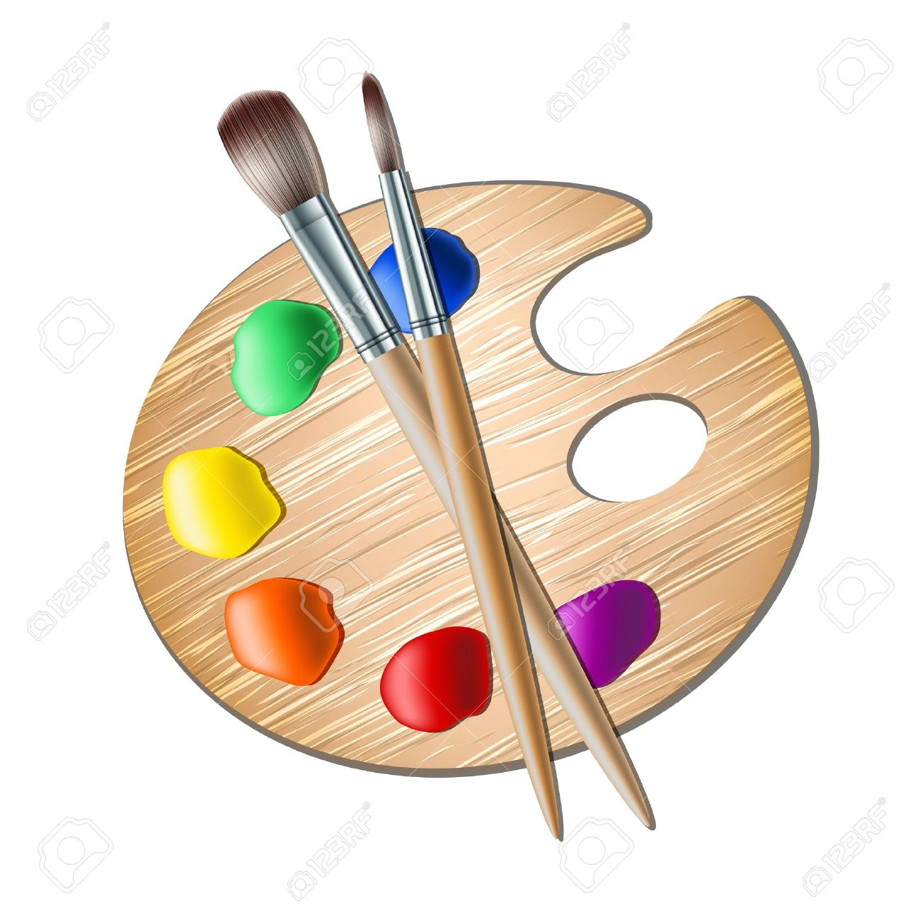 1300x1293 Art Palette With Paint Brush For Drawing Royalty Free Cliparts