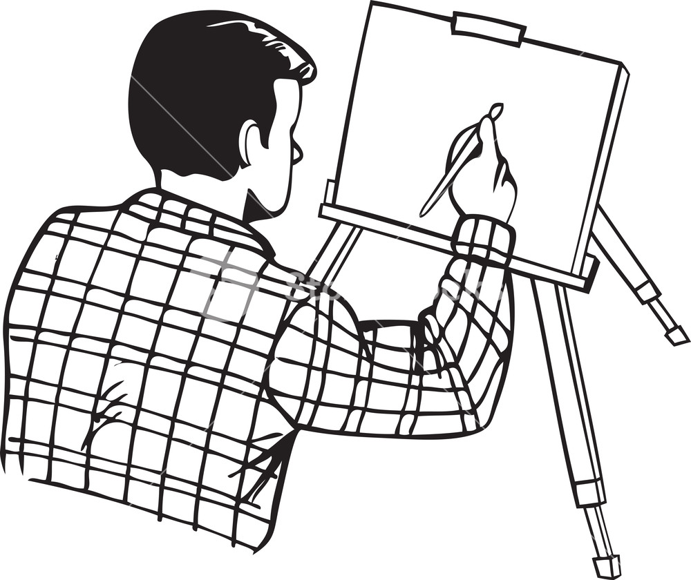 1000x840 Illustration Of A Man With Paint Brush And Painting. Royalty Free