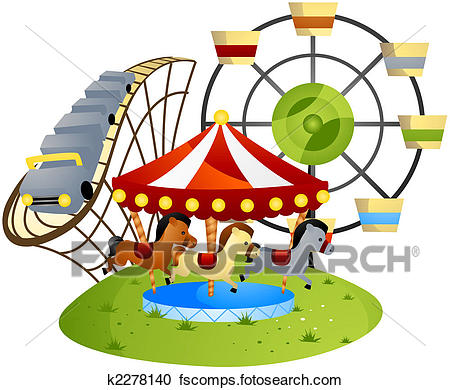 450x390 Drawings Of Amusement Park Vector Set. Ferris Wheel, Roller