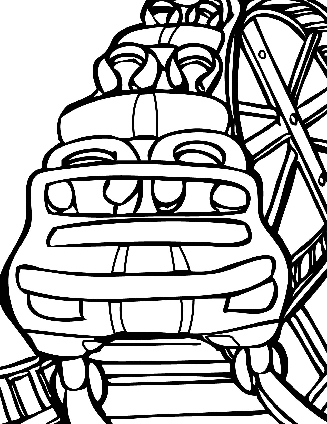 1275x1650 Roller Coaster Coloring Page