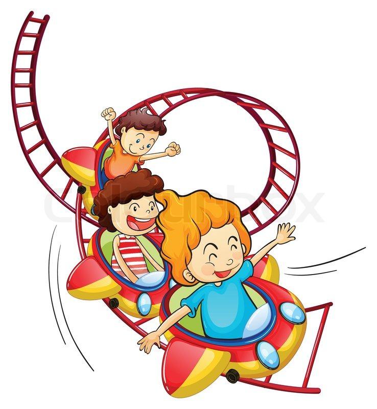 738x800 Three Children Riding In A Roller Coaster Stock Vector Colourbox