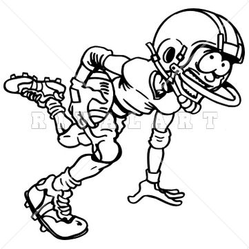 361x361 Sports Clipart Image Of Black White Football Player Running