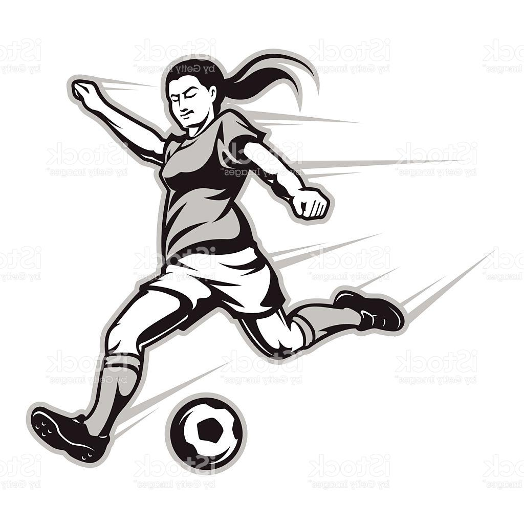 1024x1024 Best Cartoon Image Of Female Football Player Striking The Ball