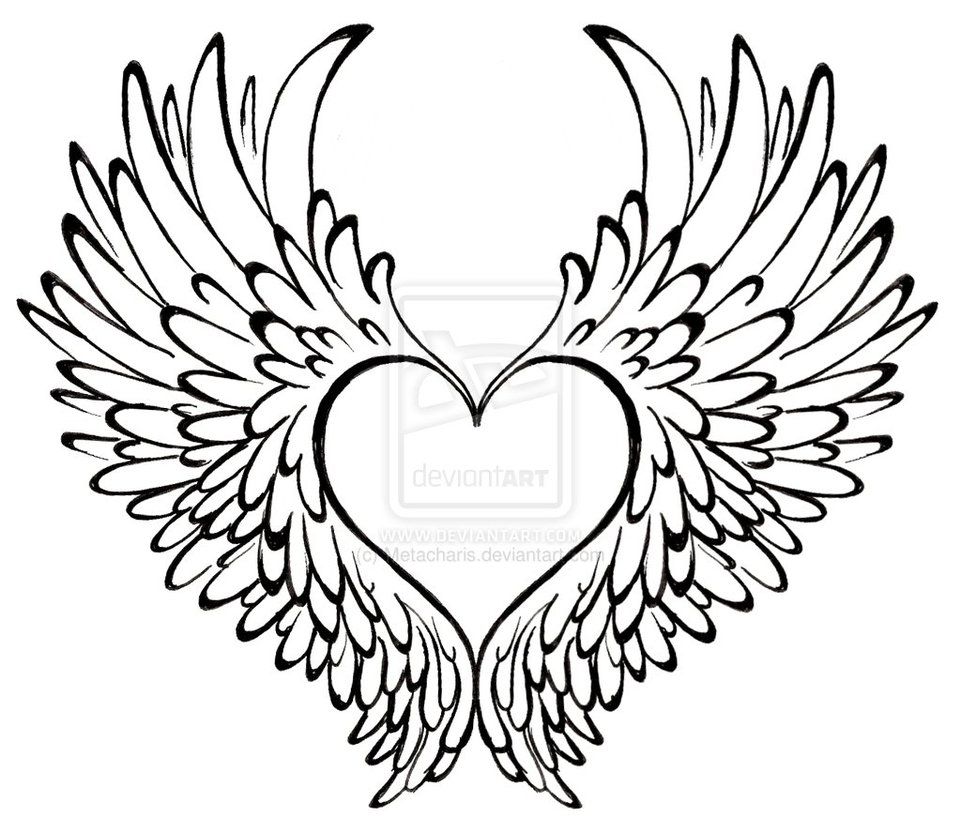 961x832 pencil drawings of hearts with banners and wings hand drawn cool