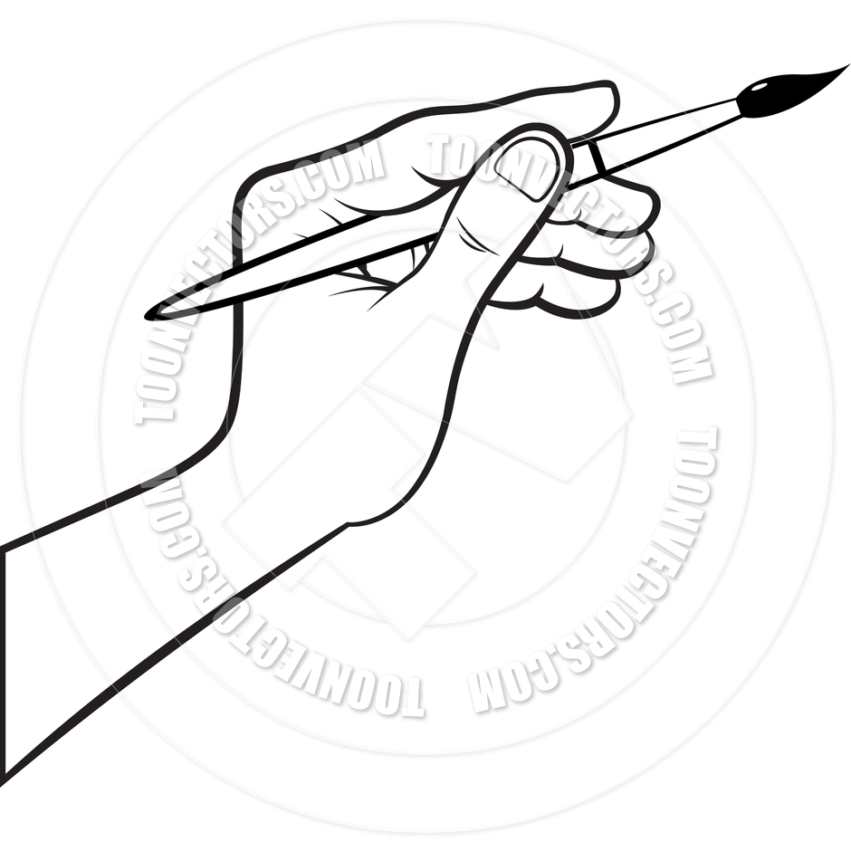 940x940 Drawing Of A Hand Holding A Paintbrush Images