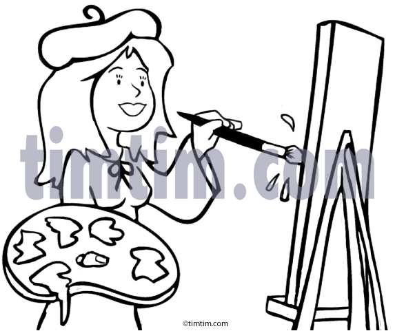 573x481 Free Drawing Of Artist Lady Bw2 From The Category Art Amp Drawing