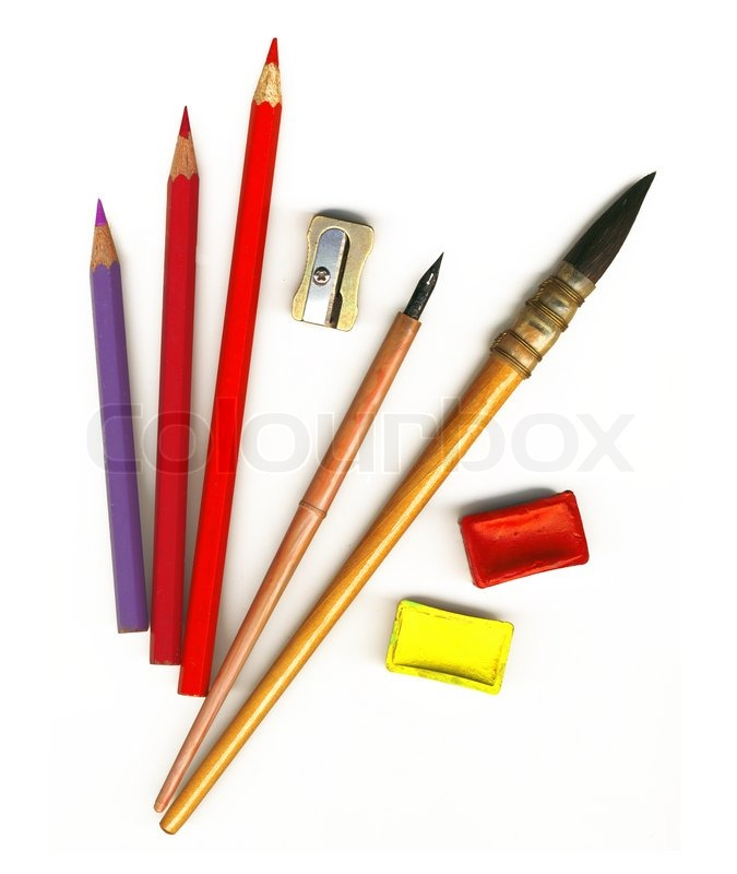 675x800 Old Paint Brushes, Watercolors, Colored Pencils And Other Tools
