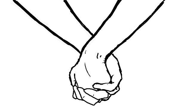 How to draw holding hands couple