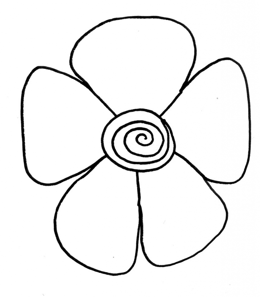 896x1024 Easy Drawing Pictures Of Flowers Simple Flower Drawing How To Draw