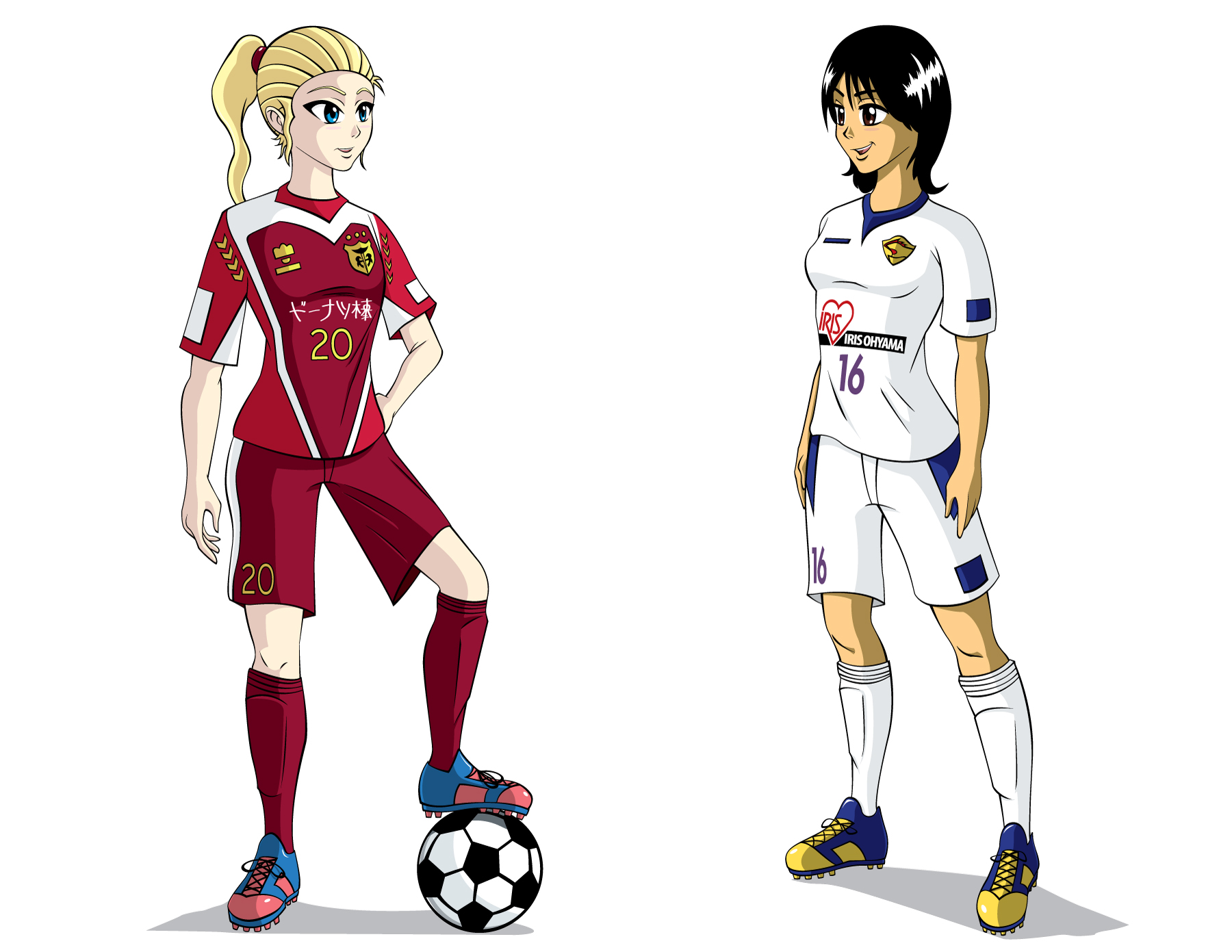 1800x1391 Soccer Girls By Animemagix