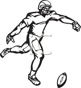 274x300 Black And White Cartoon Of A Football Player Kicking The Ball