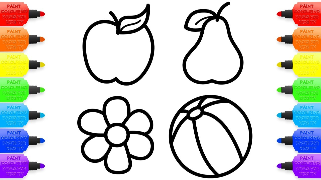 1280x720 Baby Drawings Fruit Toy Flower Coloring Pages For Kids