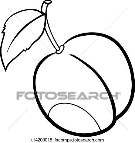 445x470 Clip Art Of Plum Fruit Illustration For Coloring Book K14200018
