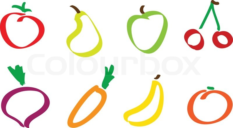 800x441 Drawing Fruit And Vegetable Icons Stock Vector Colourbox