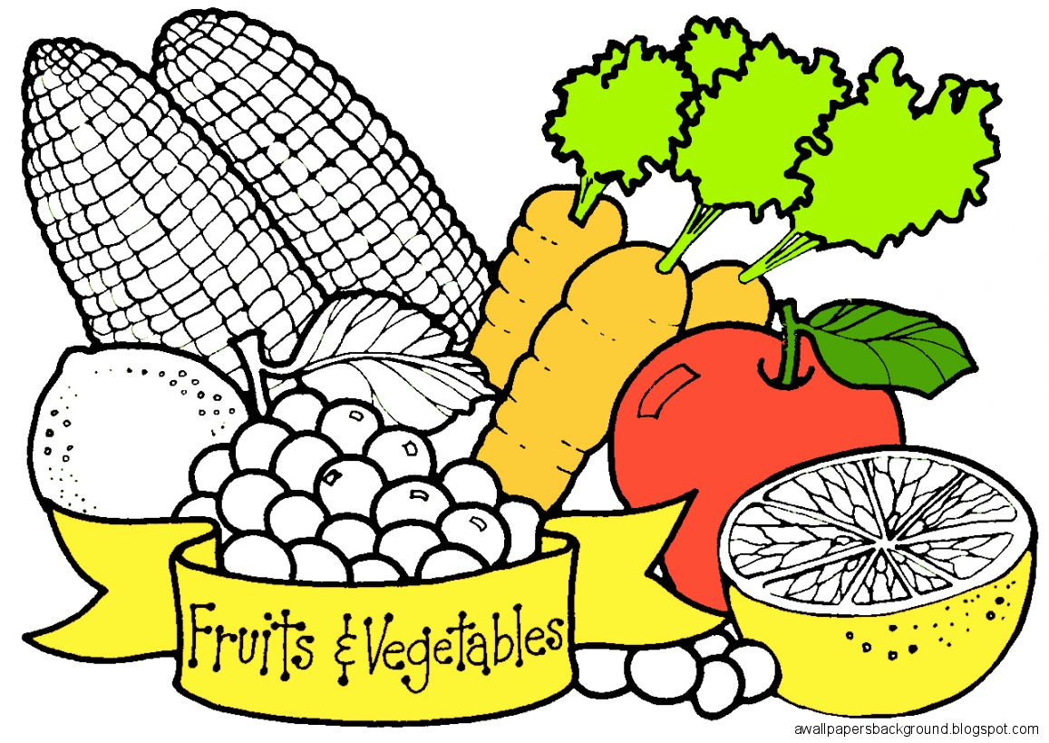 1157x819 Fruits And Vegetables Drawing Wallpapers Background