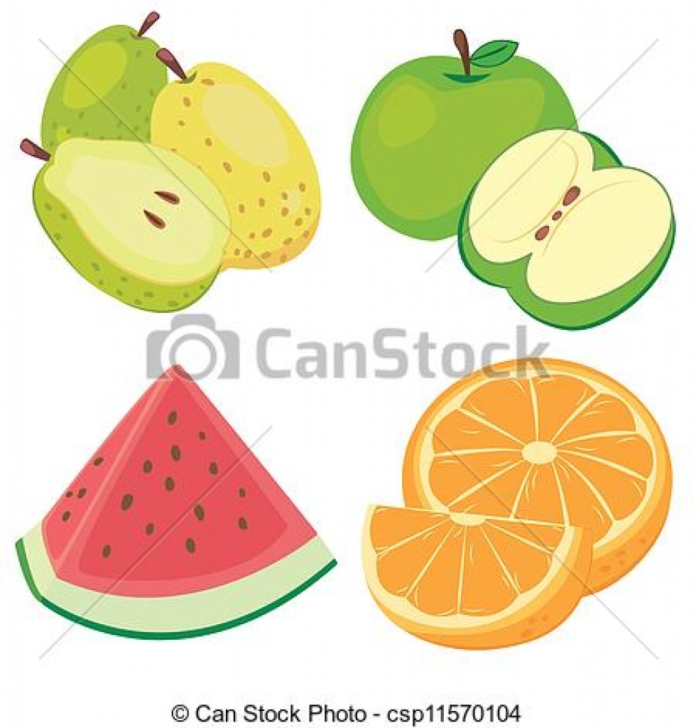 980x1024 Vector Clipart Of Cute Fruit Collection05 Four Cute Fruits