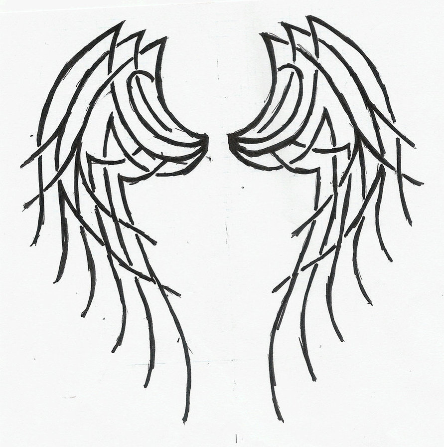 891x896 Tribal Angel Wings Tattoo By Katerlin