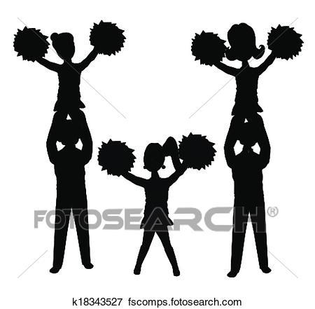 450x441 Clip Art Of Cheerleaders In Silhouette K18343527