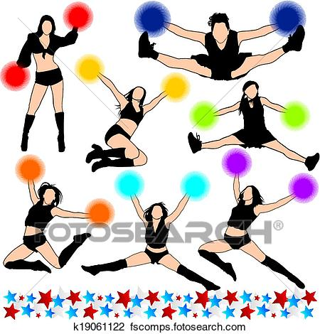 450x470 Clipart Of Cheerleaders Vector Silhouettes Set K19061122