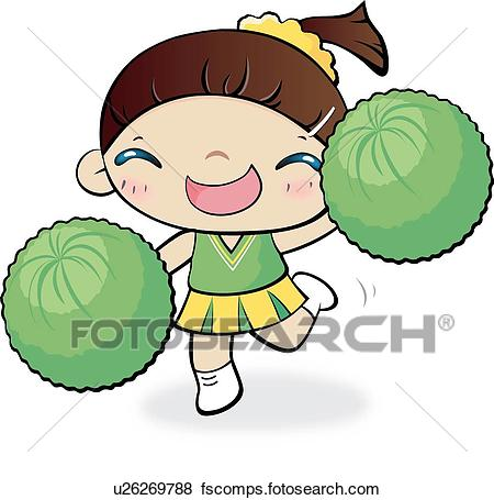 450x455 Stock Illustration Of Cheer, School Life, Cheerleaders
