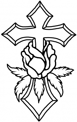 300x471 Cross With Rose Decal Car Or Truck Window Decal Sticker