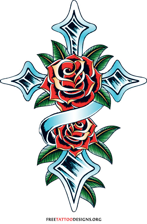 494x751 Cross Tattoo With Roses Tattoos Tattoo, Rose