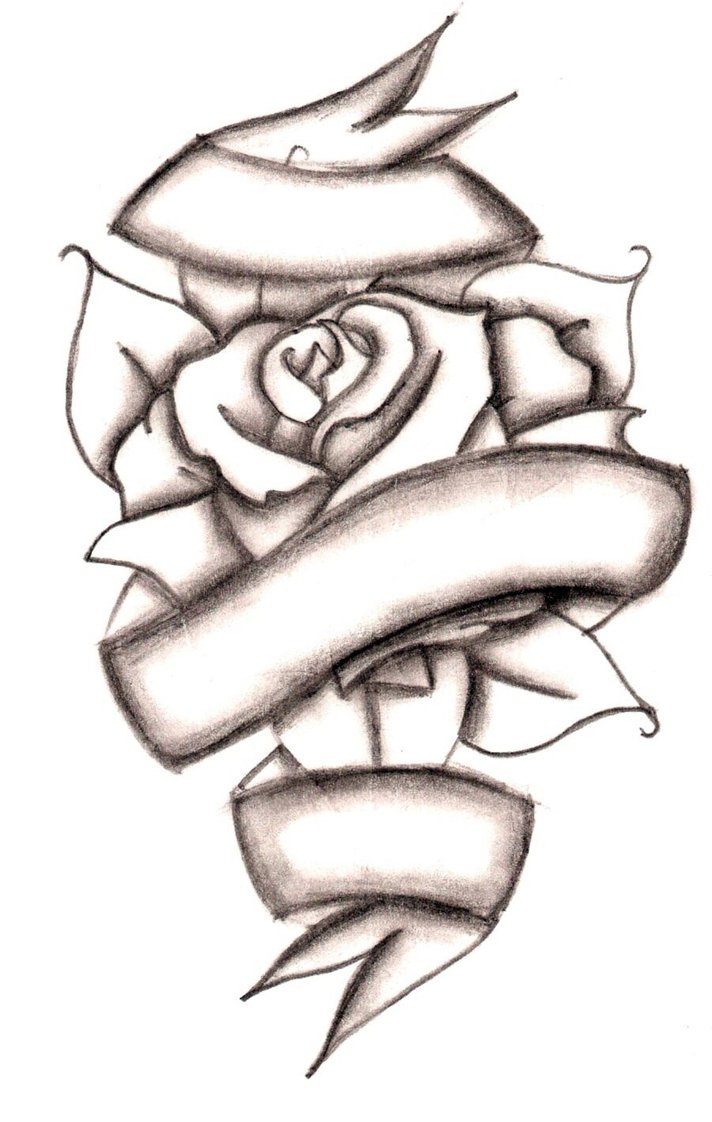 712x1122 Drawn Cross Ribbon Rose