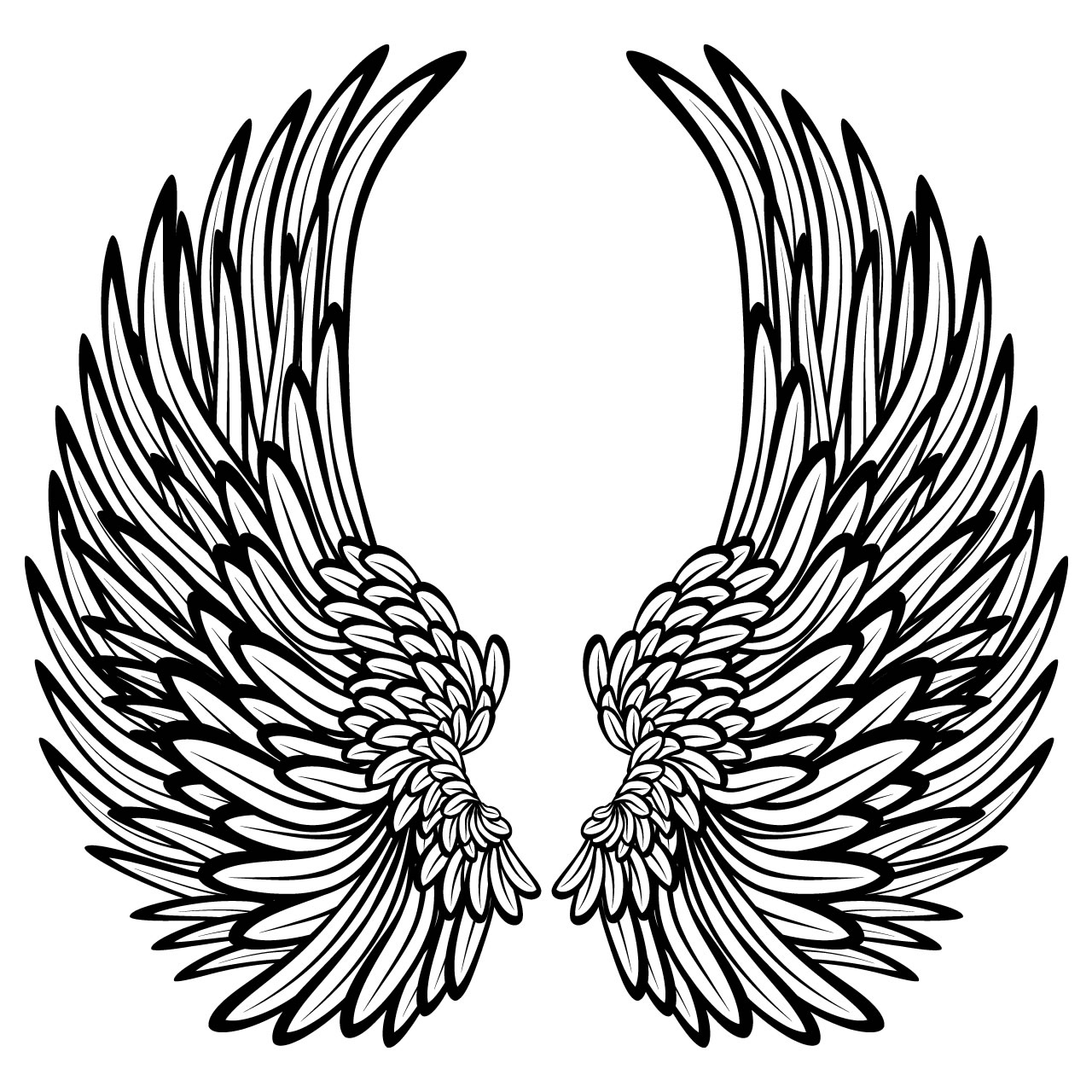 It is an image of Soft Cross With Wings Drawing